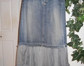 Rosette jean skirt grey tulle rose lace Seven for All Mankind bohemian Renaissance Denim Couture mermaid goddess Made to Order