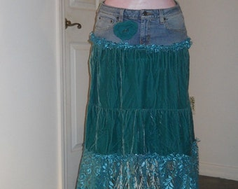 SALE Narissa sea goddess jean skirt teal velvet  turquoise lace ocean blue bohemian mermaid Renaissance Denim Couture Free People
