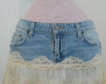 Guinevère bohemian jean skirt exquisite vintage French lace boho medieval goddess Renaissance Denim Couture Made to Order