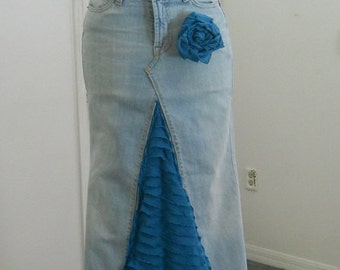 SALE Belle en Bleue jean skirt Seven for All Mankind teal blue ruffle bohemian beachy Renaissance Denim Couture with rose pin