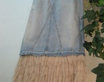 Petite Bohème jean skirt beige ruffled tulle frou frou cream lace Seven for All Mankind bohemian Renaissance Denim Couture OOAK