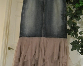 Sirène Mauve mermaid fairy jean skirt Seven for All Mankind rose tulle lilac Renaissance Denim Couture bohemian Made To Order