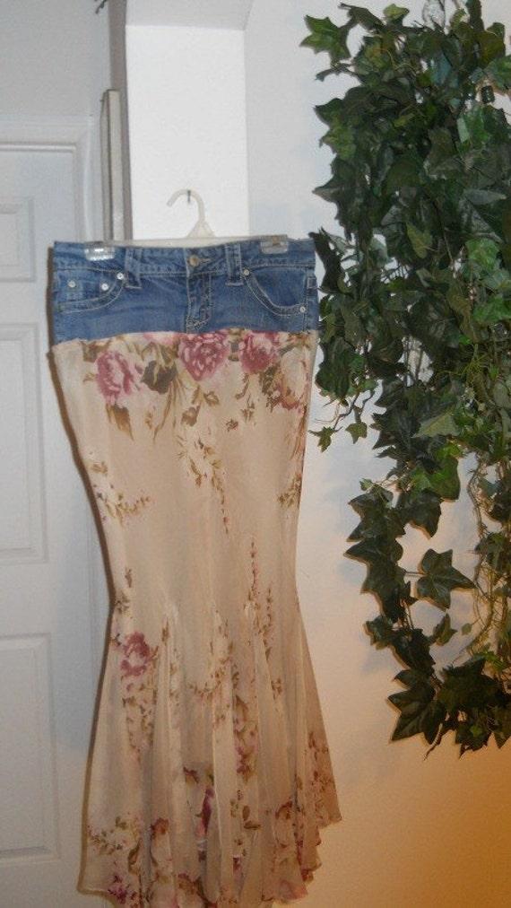 Églantine wild rose jean skirt  bohemian mermaid fairy ruffled silk frou frou Renaissance Denim Couture