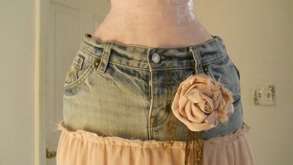 Solange ballet pink tulle jean skirt ultra femme romantic bohemian faerie goddess mauve chiffon Made to Order