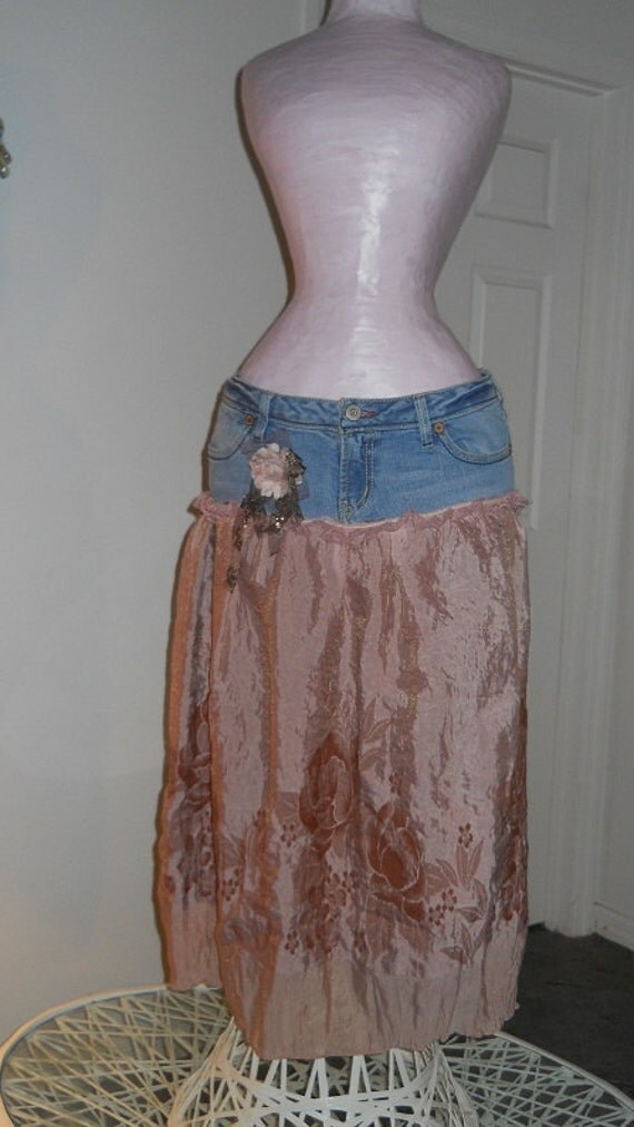 Rose Crème jean skirt mauve pink shimmery rose silk dusty vintage lace bohemian Renaissance Denim Couture