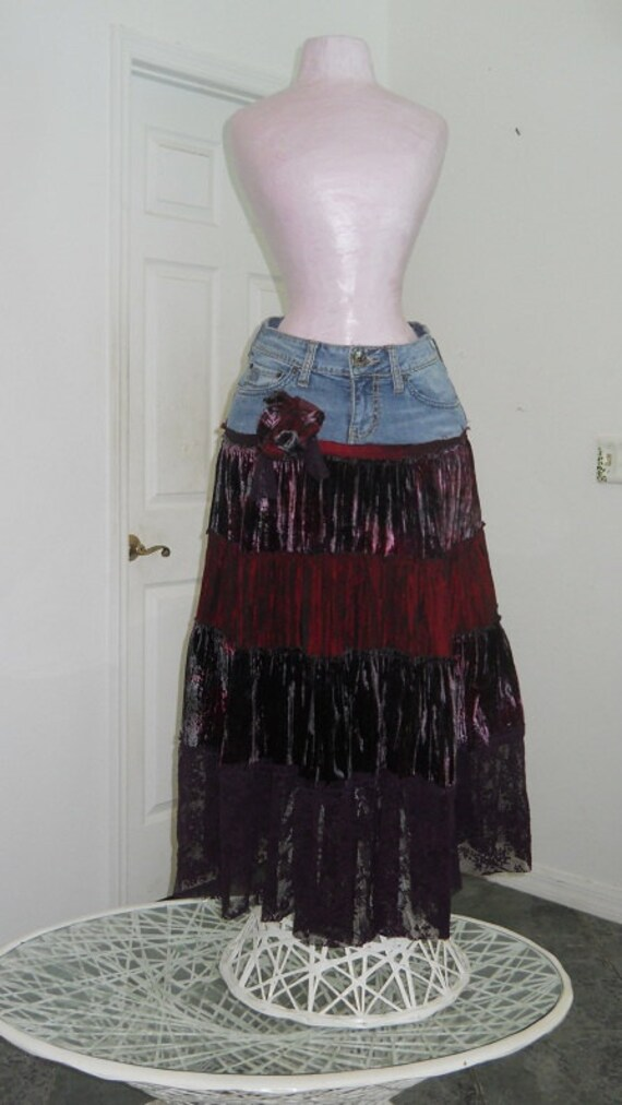 RESERVED Cerise wild cherry bohemian jean skirt ruched velvet vintage purple lace burgundy red rose Renaissance Denim Couture