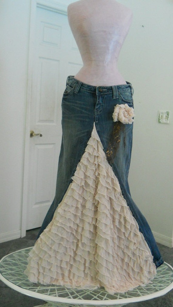 Made to Order Belle Époque jean skirt cream ruffled silk  lacy bohemian beach goddess mermaid Renaissance Denim Couture Made to Order
