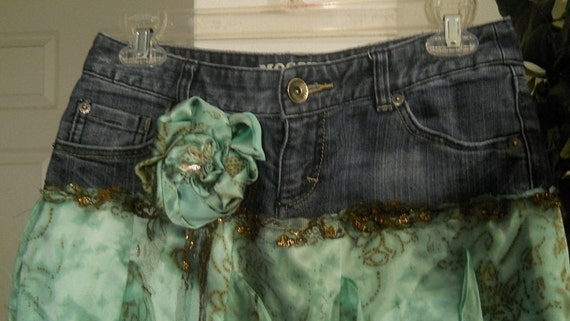Petite Fée Verte green fairy jean skirt aqua silk vintage bronze lace ruffled seafoam frou frou Renaissance Denim Couture  Made to Order