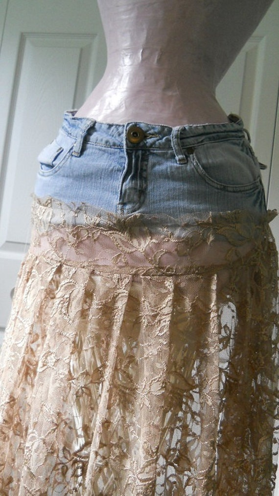 Jean skirt with lace – The most popular models skirts