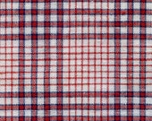 French Vintage woven linen check linen Antique Kelsch Alsace Plaid Gingham Red White and Blue
