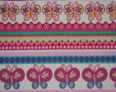 Pink Butterfly - Cloth Wipes / Napkins - Set of 5 - Double Flannel
