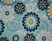 Blue and Green Daisy - Cloth Wipes / Napkins - Set of 5 - Double Flannel