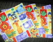 Zoo - UPCYCLED Cloth Wipes / Napkins - Set of 4 - Double Flannel