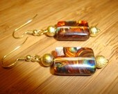 SUPER SALE -Stained Glass Silver Foil Millefiori Earrings in Rust and Gold