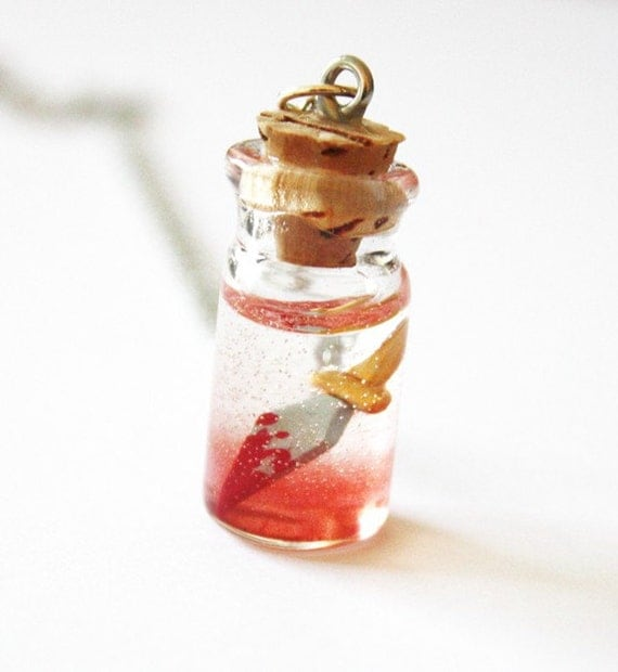 After XMAS SALE Happy Dagger - Vial of Poison - Romeo and Juliet Inspired Charm Necklace