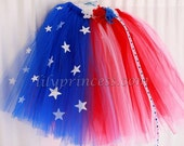 4th of July  holiday red white blue parade patriotic tutu dress flower headband 2pc 1-5T