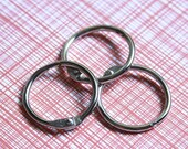 """Set of 3 One Inch Book Binder O Rings . Ring Hinges . Silver .  Inch 1"""" 1 Inch // December Daily Collection"""