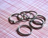 "1"" Book Binder Rings .  Silver . Set of 6 One Inch Bindery Ring Hinges // December Daily"