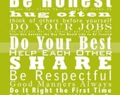 ORIGINAL Family and House Rules Subway Art // Family Motto Manifesto Scroll Roll // 11x14 Chartreuse Typography Poster  // Words to Live By