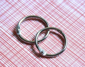 """One Inch Metal Book Bindery O-Rings . Silver O Ring Hinges . 1 Inch 1"""" . Set of Two 2"""