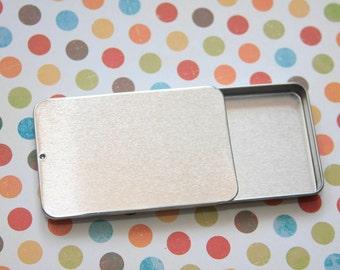 Small Metal Slide Top Tins, Mini Slide Top Tins, Sliding Lid Metal Tins, Small Sliding Notions Tin, Slide Top Tin, Stitch Marker Storage