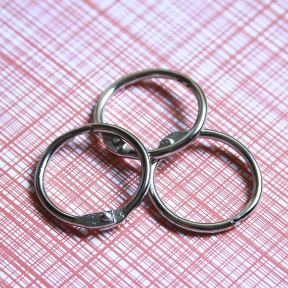 """Set of 3 One Inch Book Binder O Rings . Ring Hinges . Silver .  Inch 1"""" 1 Inch // December Daily Collection . Embroidery Floss Storage"""