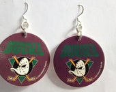 POG 90's Milk Cap Dangle Earrings:  Mighty Ducks Hockey