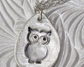 Fine Silver Owl Pendant Necklace