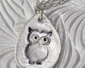 Fine Silver Owl Pendant Necklace