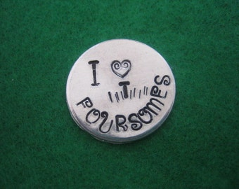 Custom Hand Stamped I Heart Foursomes Golf Ball Markers  Aluminum Discs