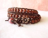 Wrap Bracelet - Red Sesame Jasper Stone and Leather - 3x Wrap - Complimentary Gift Wrapping