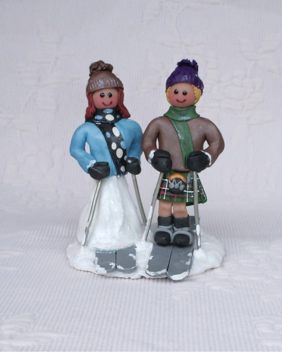 skiers wedding cake toppers items similar to skier and groom wedding cake topper 20178