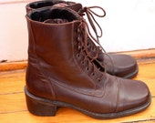 Vintage Brown Leather Boots- 8