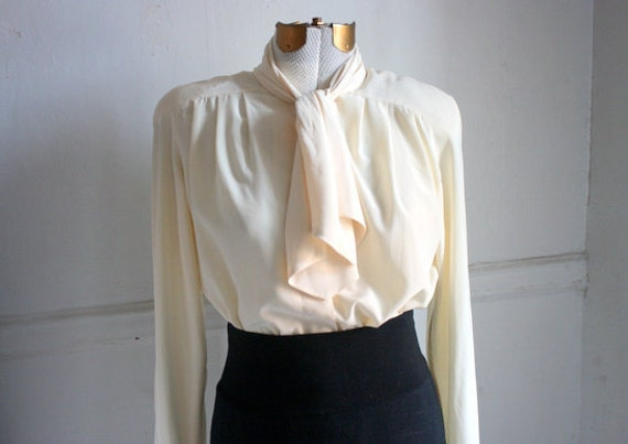 Vintage Cream Neck Tie Blouse
