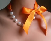 Bridesmaids Necklace Pearl And Ribbon Necklace With White Pearls And Tangerine Satin Ribbon