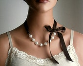 Pearl And Ribbon Necklace With Swarovski Crystal White Pearls And Chocolate Satin Ribbon 19 Inches