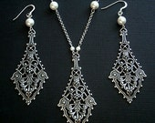 Bridal Chandelier Earrings And Necklace Set With Large Silver Filigree And White Swarovski Crystal Pearls
