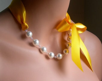Pearl And Ribbon Necklace With Swarovski Crystal White Pearls And Yellow Satin Ribbon