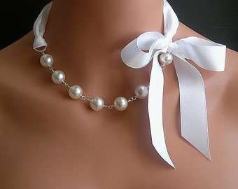 Pearl And Ribbon Necklace With Swarovski Crystal White Pearls And White Satin Ribbon 18 Inches