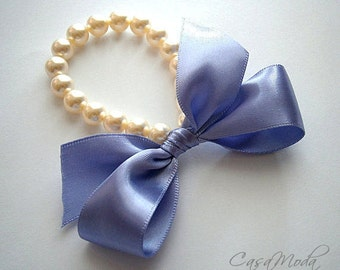 Pearl Bracelet Lavander Lilac Fall Weddings Flower Girl Pearl Bracelet Cream Pearls With Tropical Lilac Satin Ribbon