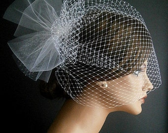 ivory veil | full birdcage veil | wedding veil | bride | vintage veil | bridal | headpiece | 13 inch | poof | fascinator | wedding veil |