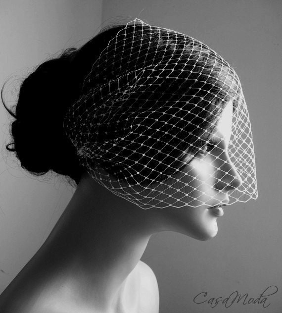 Birdcage Veil Wedding Veil Bandeau Style in Ivory Color 9 Inches