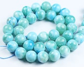 14 Inches -  Natural Aqua Blue Larimar Smooth Polished Top Quality Round Ball Beads Strand - Size 10mm
