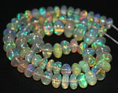 14 Inches - 6-9mm - 70.5 cts - Best Natural Blue Green Red Fire Welo Ethiopian Opal Smooth Roundel Beads Strand - JE801