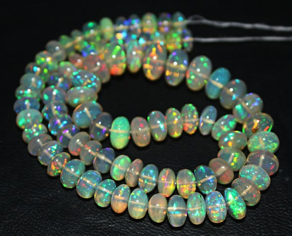 """14"""" - 5.5-9mm - 71.5 cts - Best Natural Blue Green Red Fire Welo Ethiopian Opal Smooth Roundel Beads Strand - JE803 - DISCOUNT EXCLUDED"""