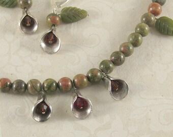 Rosedrop - unakite, jade, Swarovski crystal, .99 silver necklace and earring set