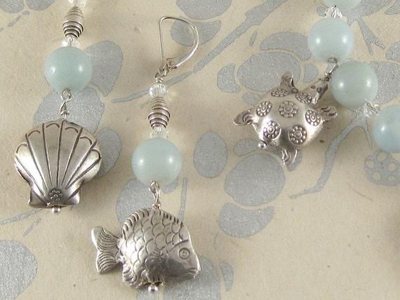 Sea Friends - amazonite, .99 silver, Swarovski crystal earrings and bracelet set