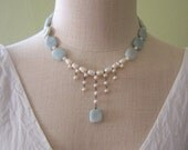 Amazonite and cultured pearl drop necklace and earrings set