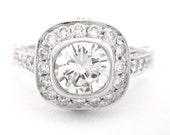 Round diamond engagement ring bezel set art deco 2.20ctw 14k