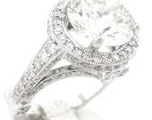 Round diamond engagement ring antique art deco 4.50cttw